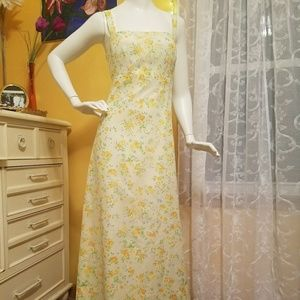 Pastel Yellow Vintage Floral Maxi Dress